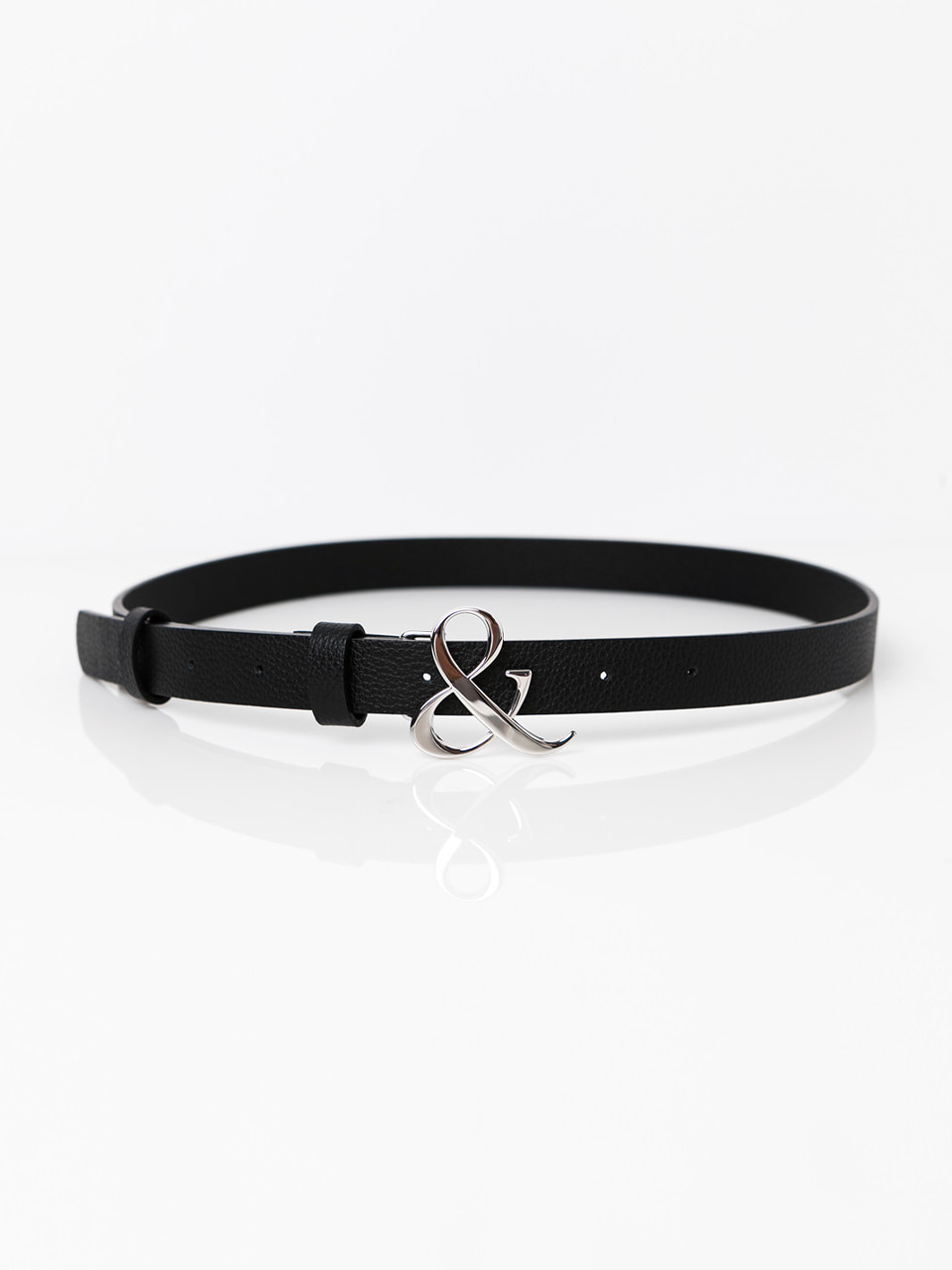 [ABCME5002M] AMPERSAND BUCKLE SLIM BELT_BK
